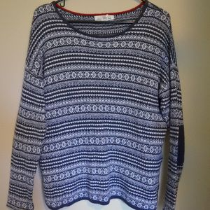 Blue & White Patterned Sweater